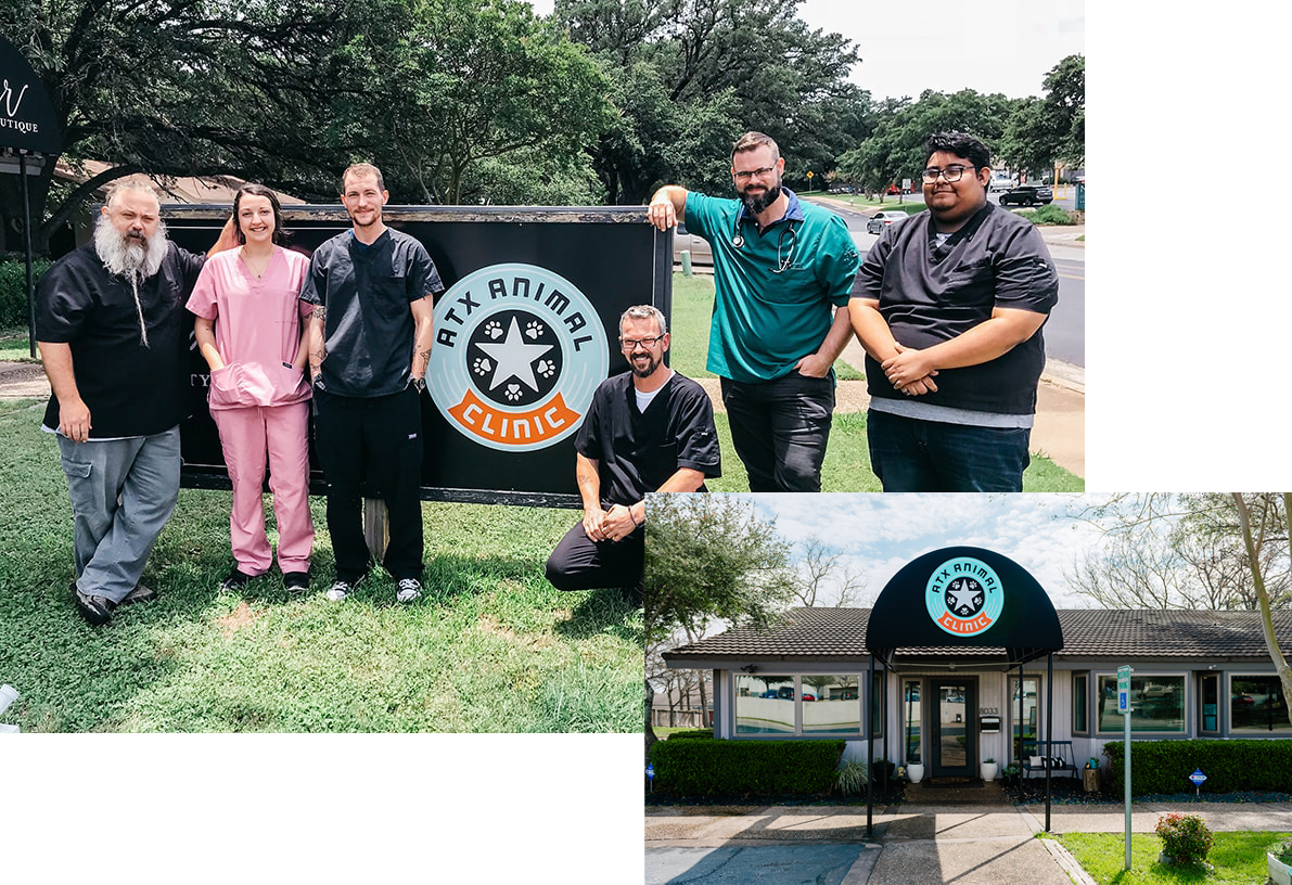 Our ATX Veterinary Staff in Austin & Exterior of Clinic